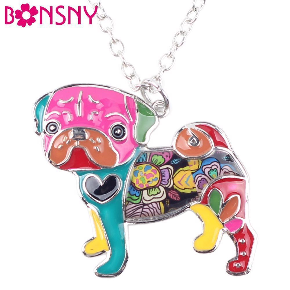Necklaces Pendant Dog Pug Animal Zinc Alloy New Female Fashion Jewelry Accessory
