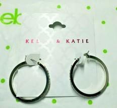 Kelly & Katie Fashion Earrings Silver Tone Simulated Diamond Hoop Earrin... - $15.83