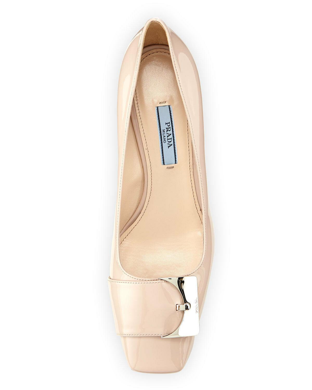$720 Prada Patent Leather Low-Heel Buckle Ornament Pumps Nude Beige Shoe 38- 8