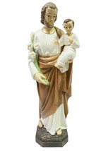"25.5"" Saint Joseph with Jesus Child Catholic Statue Figurine Vittoria Italy - $144.99"
