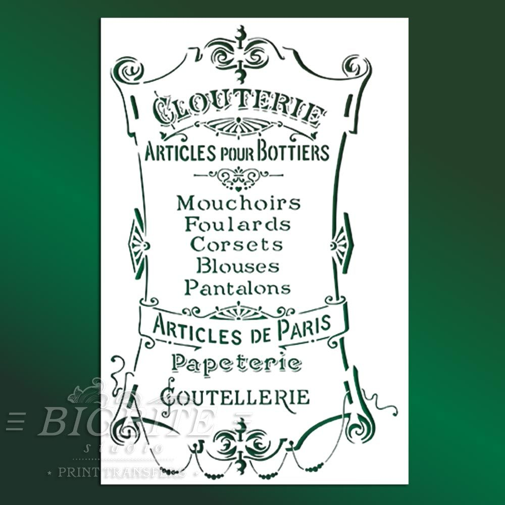 French stencil articles paris clouterie green
