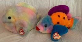 Ty Beanie Buddy LIPS 1999 & CORAL 2000 Fish MWMT Long Very Soft Plush Animal - $19.79
