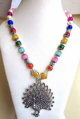 Indian Bollywood Oxidized Figure Pendant Pearls Necklace Women's Fashion Jewelry image 3