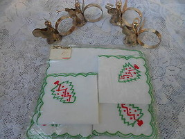HOLIDAY SILVER NAPKIN HOLDERS AND VINTAGE PHILIPPINE HANDICRAFTS NAPKINS  - $12.99