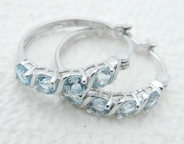 Roman Signed .925 Sterling Silver Blue Spinel Hoop Earrings - $39.59