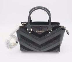 MICHAEL Michael Kors Selma Black Chevron Leather Medium Top Zip Satchel ... - $248.00