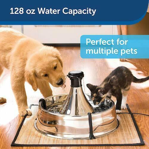 Pet Drinking Fountain Stainless Steel Adjustable Flow Keeps Water Fresh New - $102.84