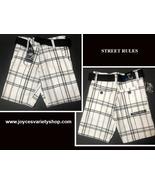Street Rules Boys Shorts Sz 5 Kids Black & White Plaid Belted - $9.99