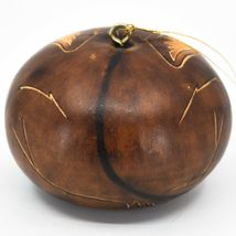 Handcrafted Carved Gourd Art Brown Fox Forest Animal Ornament Made in Peru image 3