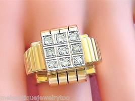 ANTIQUE RETRO .40ctw DIAMOND 18K BOLD UNISEX COCKTAIL RING 1940 size 7.2... - $1,375.11