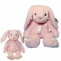 Hoppity the Pink Easter Bunny Ty Beanie Baby and Buddy Set of 2 MWMT PVC... - $45.49
