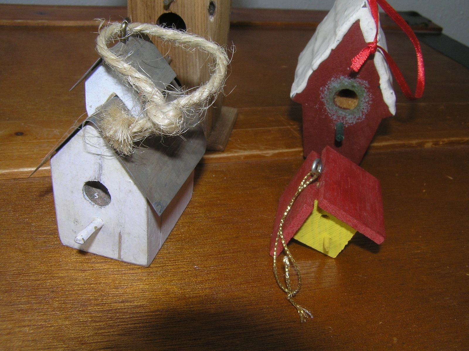 Lot of 4 Painted Wood Birdhouse Tree Ornaments – one handcrafted in North Dakota