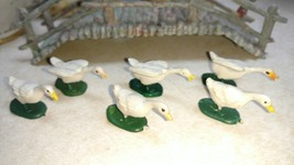 3 Pairs Hard Plastic Geese Goose White Hand Painted Miniatures Hong Kong... - $6.80