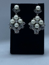 Charter Club Silver Gray Tone Crystal White Pearl Simulation Stud Drop E... - $11.95