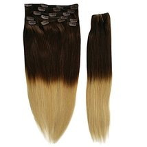 20inch 140g Silky Straight Ombre Clip in Human Hair Extension Two Tone Balayage  image 2