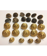 26 Antique Metal US Military Uniform BUTTON NAVY Anchor Eagle Waterbury ... - $34.60