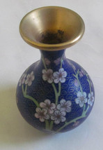 1950's Vintage Japanese Brass Cloisonne Enamel Vase Blue Design With Flo... - $48.99