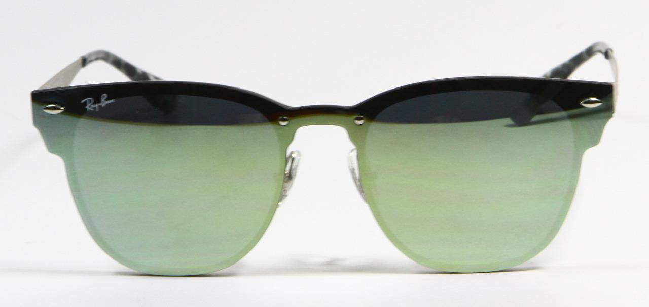 Primary image for Ray Ban 3576N 042/30 Blaze Clubmaster Silver Green Mirror Sunglasses 47mm New