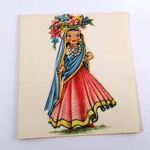 Dolls of Many Lands Card India Vintage Blank Note Card for Collage, Ephemera, Mi image 1