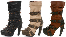 Hades BJORN Steampunk Black Tan Brick Slouch Vegan Boots Spikes Studs & Rivets - $177.00