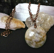 Natural Healing Stone Jasper Pendant Necklace, Copper Chain 23 inch Wome... - $16.82