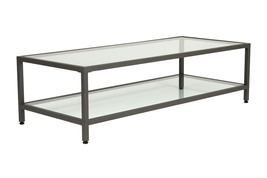 Offex Home Entryway Camber Rectangle Coffee Table Pewter - Clear Glass - €215,63 EUR