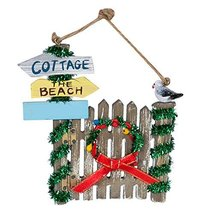 Beach Themed Christmas Gate Ornament with Wreath and Seagull by Beachcombers