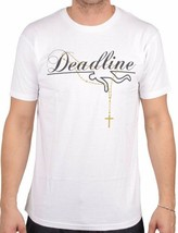 Deadline Mens White Gold Rosary Logo T-Shirt DL-T2300 USA Made NWT