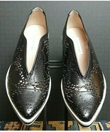 Women's James Chan Black Leather Pierced Casual Cool Flat Sz. 38.5/8.5 NWOB - $72.28
