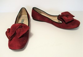 $530+ Prada Signature Logo Bow Flat Slipper Shoes Burgundy Red Suede 36.... - €128,14 EUR