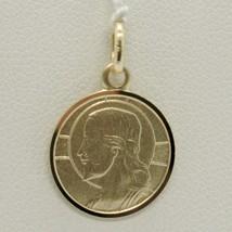 Pendant Medal Yellow Gold 750 18K, Christ the Redeemer, Jesus, 15 MM Diameter image 2
