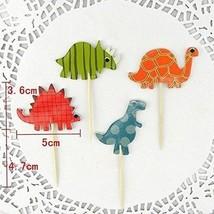 Megrocle 48 Pcs Cake Toppers Cupcake Picks Dinosaur Cupcake Toppers Food Fruit - $18.48