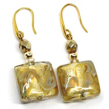 PENDANT EARRINGS WITH WHITE MURANO SQUARE GLASS & GOLD LEAF, MADE IN ITALY, 5cm image 1