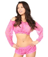 Daisy Corsets Sheer Lace Pink Long Sleeve Peasant ~ Regular & Plus Size - $34.00
