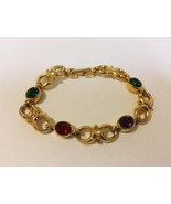 Link Bracelet Green Red Purple Oval Faceted Gemstone Gold Tone Metal Inf... - $30.00