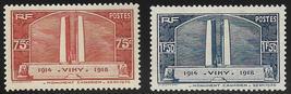 1936 Canadian War Memorial Vimy Ridge Set of 2 France Stamps Catalog 311-12 MNH