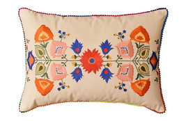 "Lumbar Beige Floral Cotton Decorative Pillow Cover Silk Embroidery  14""x20"" - €44,87 EUR"