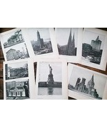 1922 New York City Paper Pages 7 pcs Mixed Media Art Found Supplies - $8.99
