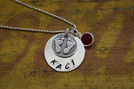 New Mom Necklace with tiny baby feet - Newborn - $32.00