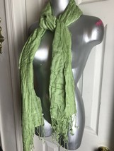 "NWT ECHO LIGHT GREEN FRINGE RECTANGLE WRAP SCARF -SEQUINED-  -22""X 72"" - $31.98"