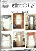 Simplicity #0684 Abbie's Jiffy 6 Pk Curtain Drape Window Swag Valance - ... - $9.90