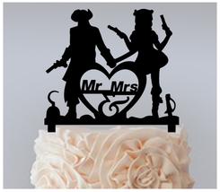 Wedding Cake topper,Cupcake topper, Pirate wedding theme silhouette : 11 pcs - $20.00