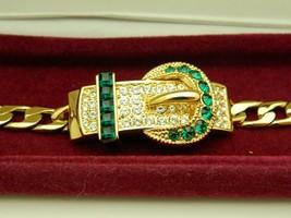 Camrose Kross JBK Kennedy Emerald Clear Rhinestone Belt Buckle Bracelet - $87.12