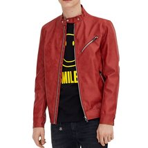 VALENTINES SPECIAL RED MEN MOTORCYCLE LEATHER JACKET