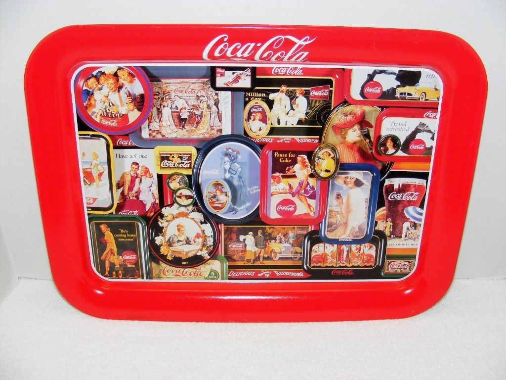 Primary image for VINTAGE 1998 COCA COLA MULTIPLE ADVERTISING IMAGES METAL TRAY GUC