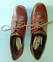 Etienne Aigner Women's Lace Up Oxfords Shoes Heel Brown Size 6.5M  Leather - $21.66