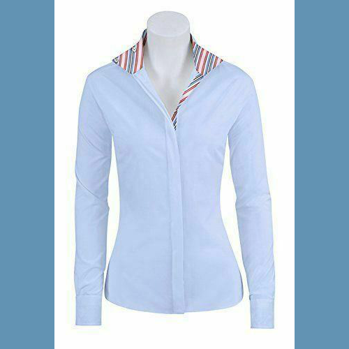 RJ Classics Essential Show Shirt Ladies 46 Blue - with multi-color stripe NEW!