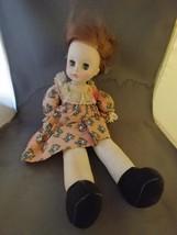 """Vintage Horsman Doll Floral Print Dress 13"""" Soft Body 1970  - $8.00"""