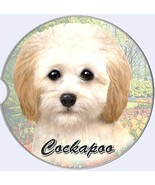 Cockapoo Car Coaster Absorbent Keep Cup Holder Dry Stoneware New Dog Cream  - $10.88