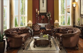 Acme Furniture Brown Versailles Living Room Set Classic 4pcs Traditional